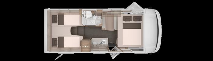 Camper - rozkład pomieszczeń